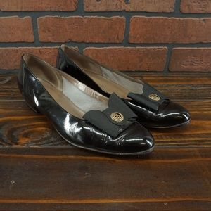 BALLY Vintage Emily Bow Top Patent Leather Flats